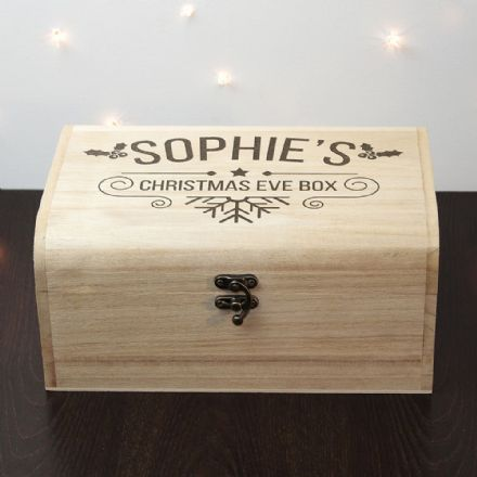 Personalised Wooden Holly Christmas Eve Chest - Small